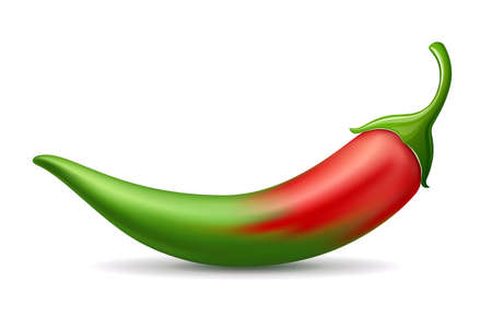 Chili peppers red gradient green color soft design isolated on white background, Eps 10 vector illustration