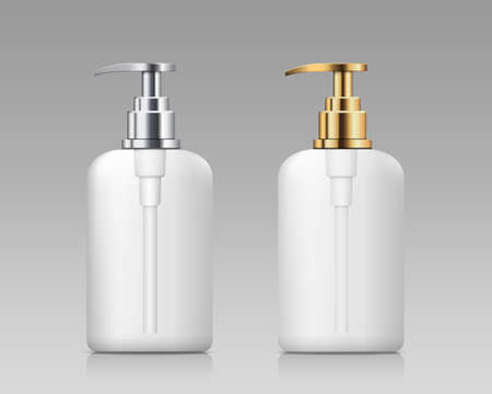 Pump bottle white transperency product, with gold and silver cap collections design, on gray background, Eps 10 vector illustration