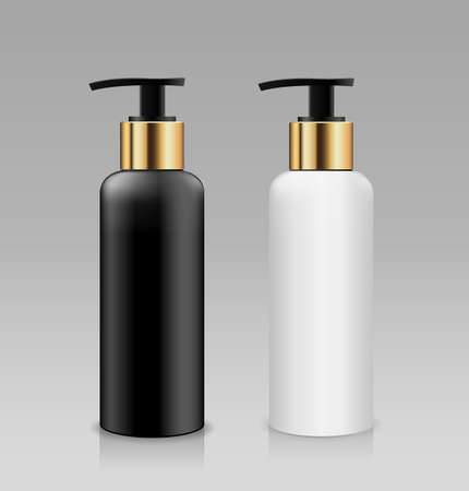Bottle pump white and black with gold cap products collection, design on gray background, Eps 10 vector illustration