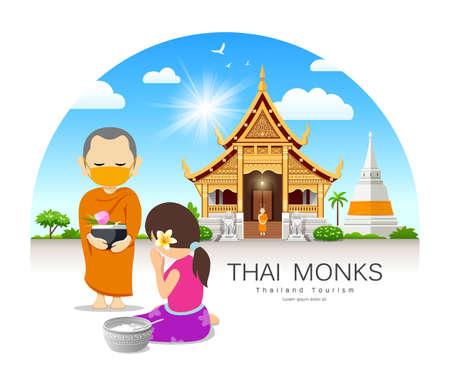 Women offering alms to Thai monks put face mask, on thailand temple pagoda cloud and sky design background, vector Ilustração
