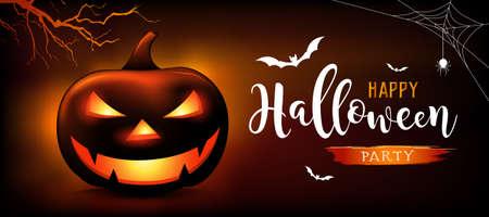 Happy Halloween message pumpkins ghost, bat, on orange and black background, Eps 10 vector illustration Ilustração