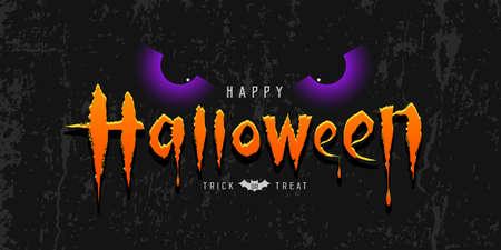 Happy Halloween orange message with purple spooky eye on rough surface grange black background, Eps 10 vector illustration