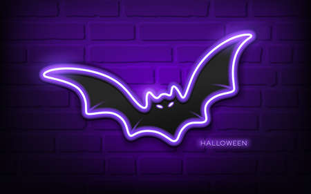 Bat neon light, colorful halloween concept design,on block wall black background, Eps 10 vector illustration