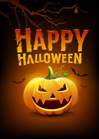 Happy Halloween message pumpkins and bat with tree, on orange and black poster design background, Eps 10 vector illustration Ilustração