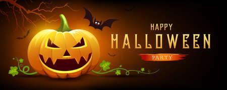 Happy Halloween pumpkin smile and bat with tree, on orange and black banner design background, Eps 10 vector illustration
