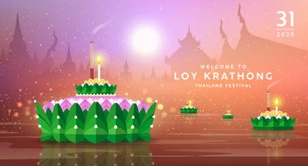 Loy krathong festival thailand, Banana leaf material, at night on thailand temple pink and orange background, Eps 10 vector illustration