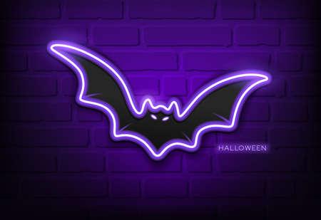 Bat neon light purple, happy halloween concept design,on block wall black background