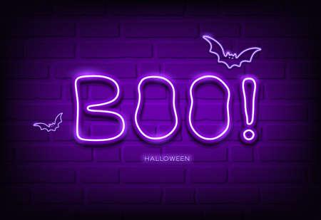 Boo message and bat neon light purple, happy halloween concept design,on block wall black background, vector illustration