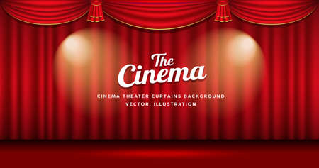 Cinema Theater curtains red and gold righting banner background, Eps 10 vector illustration