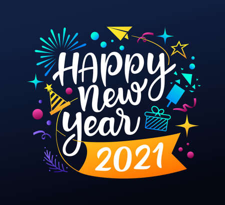 Happy new year 2021 message with icons colorful design on black background, EPS 10 vector illustration