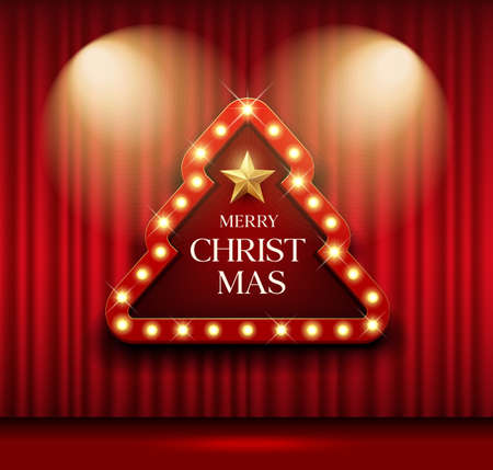 Cinema Theater sign christmas tree shape red curtain gold light up banner design background, EPS 10 vector illustration