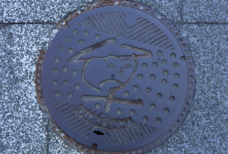 Is a manhole cover was shot in June in kaminoyama, Yamagata Prefecture 報道画像
