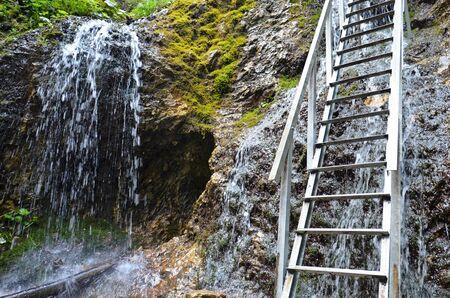 mala fatra: waterfall and ladder in Mala Fatra mountain range in Slovakia