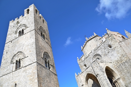 chiesa: medieval church Chiesa Matrice and bell tower in town of Erice, Sicily, Italy Stock Photo