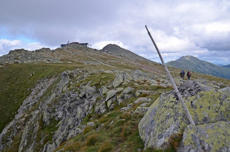 tatry: climb to the top of the mountain Chopok and lift building in Low Tatras in Slovakia