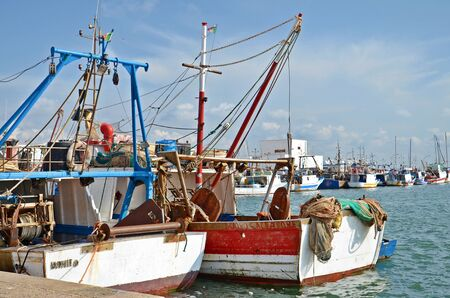 ocea: colorful fishing boats in the sicilian port of Trapani city