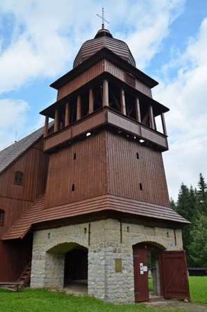 articular: tower of wooden articular church in svaty kriz, slovakia, one of the biggest in europe