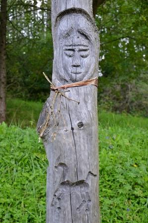 pagan: old pagan totem pole in slovakian settlement Havranok