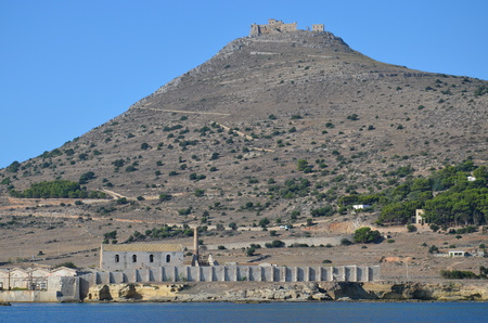 favignana: castle on the hill and old tuna factory on the island of Favignana, Italy