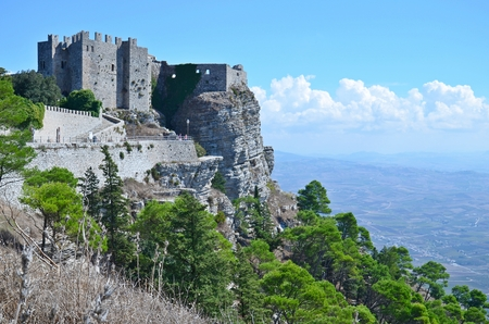 Old medieval fort in Erice, sicilian city on the top of the mountain.