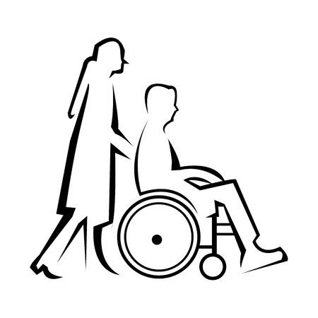 displacement: Disability vector line icon isolated on white background. Disability line icon for infographic, website or app. Scalable icon designed on a grid system.