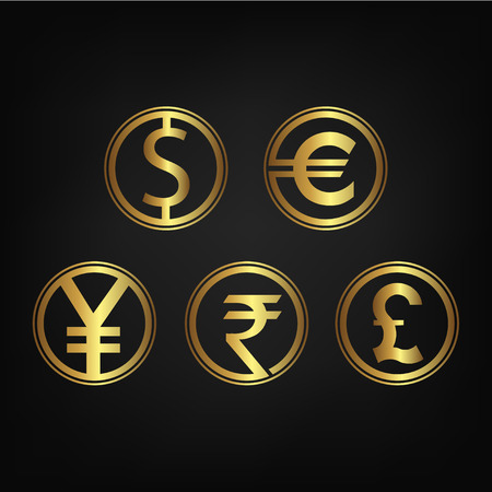 japanese yen: international currency icon collection, can be used for logos, icons, buttons, colors can be changed