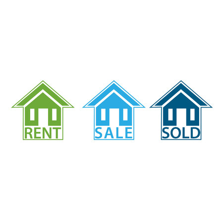 House For Sale, sold and For Rent. vectore image Illustration