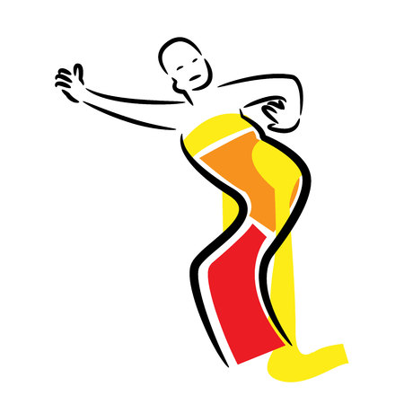 Illustration with dancing Indonesian woman dancing in traditional Indonesian style. logo vectore Illustration