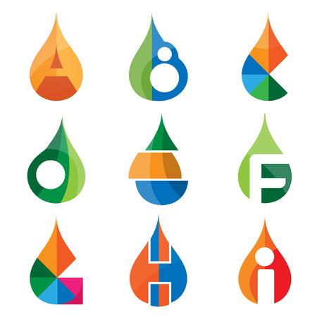 A B C D E F G H I letters set of logo idea template. logo vectore