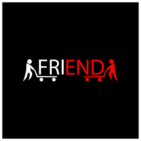 Friend slogan with people unite friend