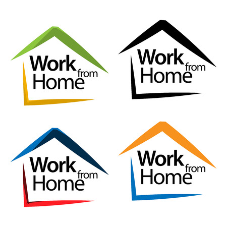 Arbeit von zu Hause aus und Haussymbol-Lagervektor, flache Designs