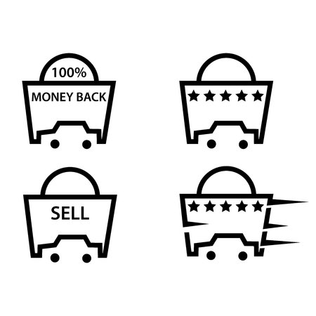 Car buying and selling icons, flat design Vectores