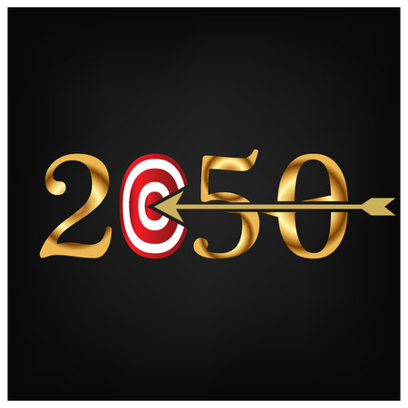 2050 with on target and one arrow hitting the center, Vector illustration on black background. Banque d'images - 117695455