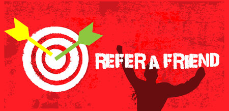 Arrows hitting the center of target on grunge background. Vector illustration concept for Success refer a friend
