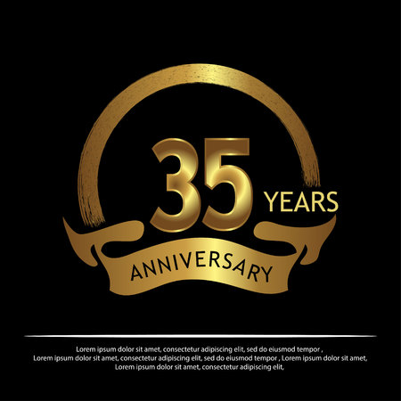 Thirty five years anniversary golden. anniversary template design for web, game ,Creative poster, booklet, leaflet, flyer, magazine, invitation card - Vector Illustration
