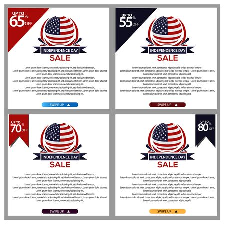 USA Independence Day sale banners for mobile. Sale banner template Vettoriali