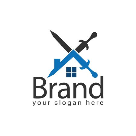 House Sword Logo. Vector Illustration on white background