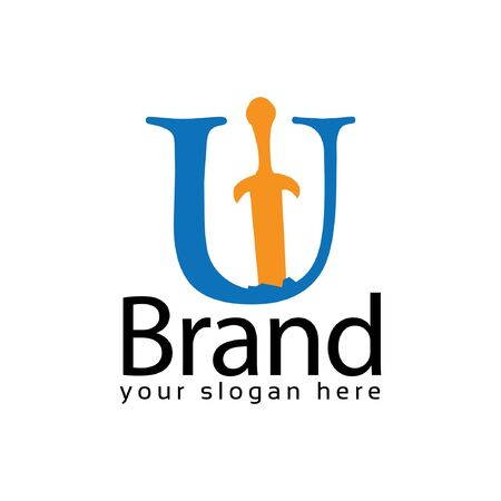 Sword Letter U Logo. Vector Illustration on white background