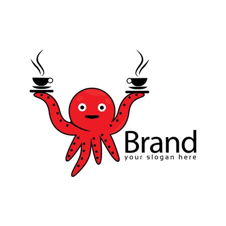Squid bring coffee. Squid logo. Vector illustration on white background