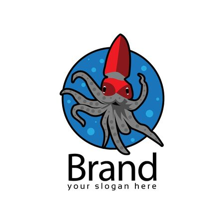 squid in the sea logo. Vector illustration on white background