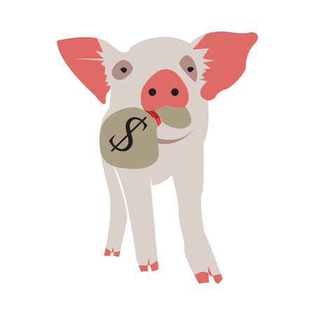 Pig carrying a money bag. Vector Illustration on white background