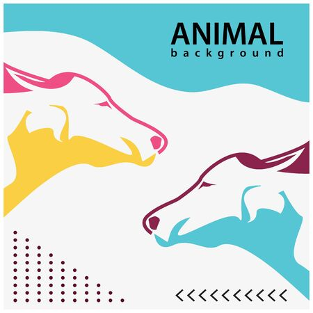 Animal background, colorful background. Flat design. Vector Illustration Ilustracja