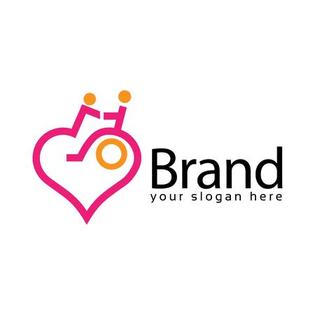 Disabled people Love Logo, flat design. Vector Illustration on white background