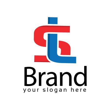 Red And Blue Letter SL Logo. Vector Illustration on white background Ilustração