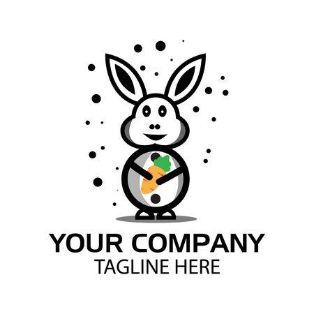 Snow rabbit logo, flat design. Vector Illustration on white background