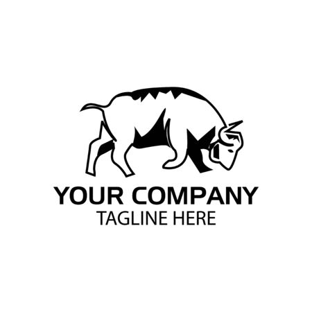 Raging Buffalo logo, Buffalo icon. flat design. Vector Illustration on white background
