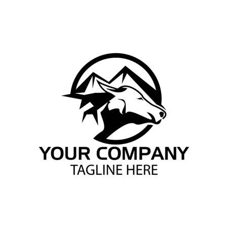 Buffalo logo with mountain, Buffalo head icon. flat design. Vector Illustration on white background
