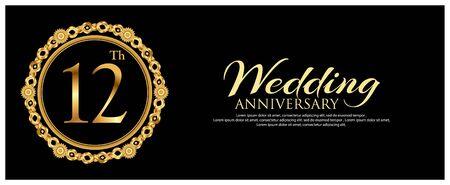 Twelve years anniversary golden. anniversary template design for banner.
