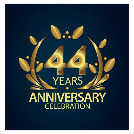 forty four years anniversary golden. anniversary template design for web, game ,Creative poster, booklet, leaflet, flyer, magazine, invitation card - Vector