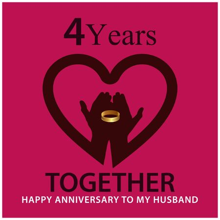 4 years Together. anniversary template design for web, game ,Creative poster, booklet, leaflet, flyer, magazine, invitation card - Vector